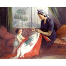 A Mother Sewing the Flag in front of her Daughter / ١٩٥٠ - أم تخيط العلم أمام طفلتها
